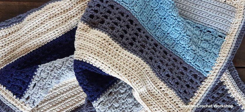 Beach Blues Crochet baby blanket kit by Creativecrochet workshops
