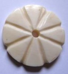 Handcarved white flower button