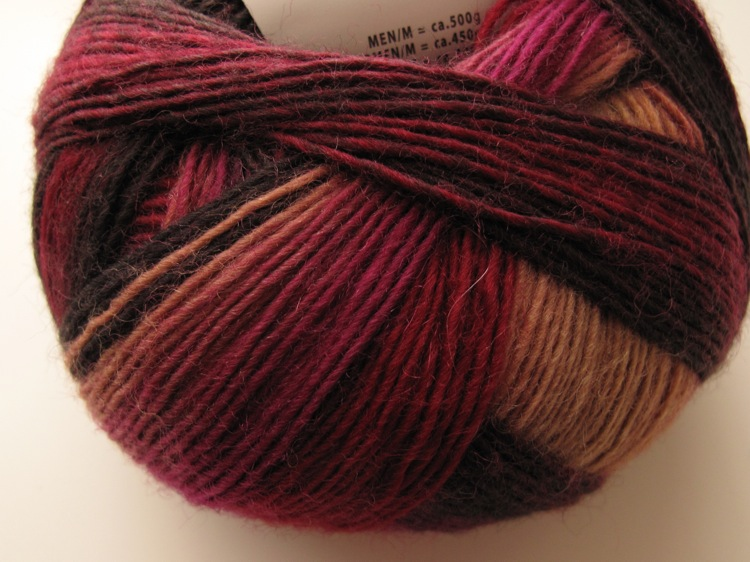 Jawoll Magic Degrade Superwash - Burgundy, black and camel