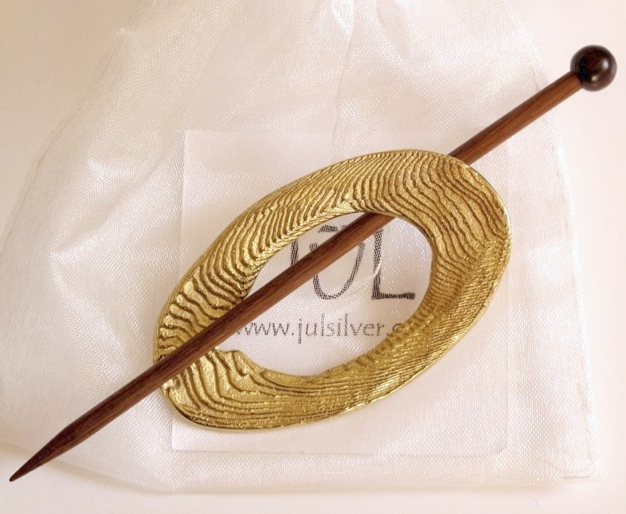 JUL Brass Moire shawl pin. Was £18.80