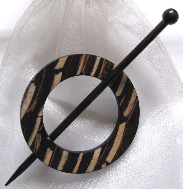 Jul zebra striped shawl pin Was £14.95
