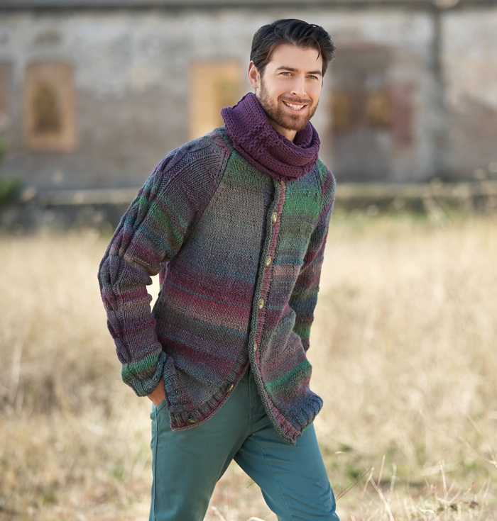 Katia Azteca Mens cardigan with a cable up the sleeves